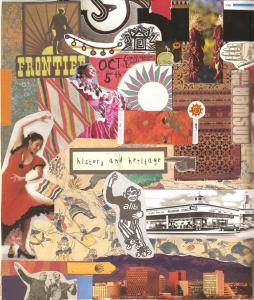 Closeup of gluebook collage featuring magazine images