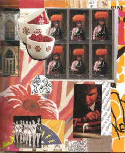 Closeup of Gluebook collage featuring magazine images, napkins, and ephemera