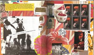Gluebook collage featuring magazine images, napkins, and ephemera